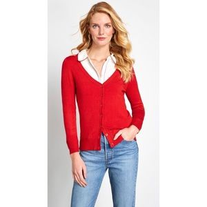 NWT ModCloth Charter School Cardigan in Red